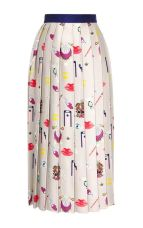 Vaya Printed Pleated Satin-Twill Midi Skirt by Mary Katrantzou - Moda Operandi