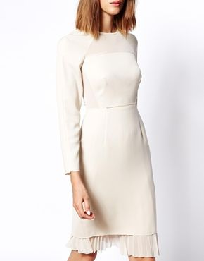 ASOS WHITE Long Sleeve Panel Shift Dress