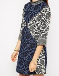 Native Rose Shift Dress in Patchwork Print