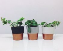 Etsy -Copper dipped cement pots candle holders or planters