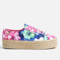Embrace summer style early with this flatform-espadrille sneaker from Superga. It features a classic 2790 upper silhouette with a bright, floral print on italian silk, along with a 4cm tall espadrille wedge sole. This shoe combines the on-trend summer feel of espadrilles with the sturdy comfort of Superga's classic construction, resulting in a fun sneaker that's bound to get positive attention. Note: We advise purchasing a half to a full size down, due to Superga's larger sizing.