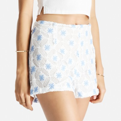 Crochet Shorts Glamarous R 399.00 Ideal for beach holidays and summer soirees alike, this stylish shorts will turn heads for all the right reasons. Made from an overlay of cut-out crochet and lined with a white cotton. Both heels and sandals will suit this short depending on the occasion.