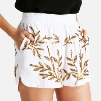 Leola Sequin Shorts R349.00 They'll show off your legs and create a cinched silhouette thanks to their athletic-inspired cut and elasticated waistband, while a pattern of gold leaves is strung together from sequins to add some extra shine!